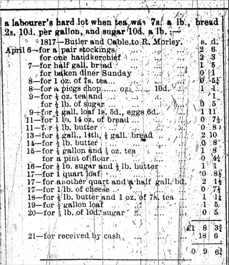 The 1817 grocery bill found under the floorboards at No 78 Hursley